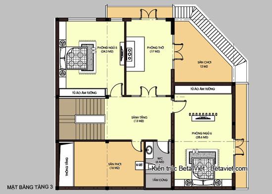 Diện tích tầng 3 biệt thự hiện đại kết hợp kinh doanh và để ở