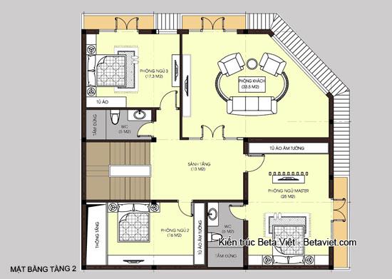 Diện tích tầng 2 biệt thự hiện đại kết hợp kinh doanh và để ở