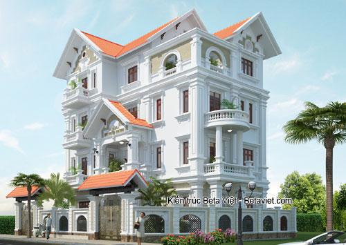 ngôi biệt thự 4 tầng phong cách tân cổ điển