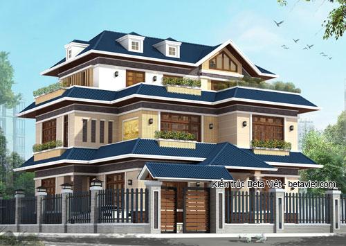 Tư vấn xây biệt thự 2,5 tầng hiện đại mái Thái