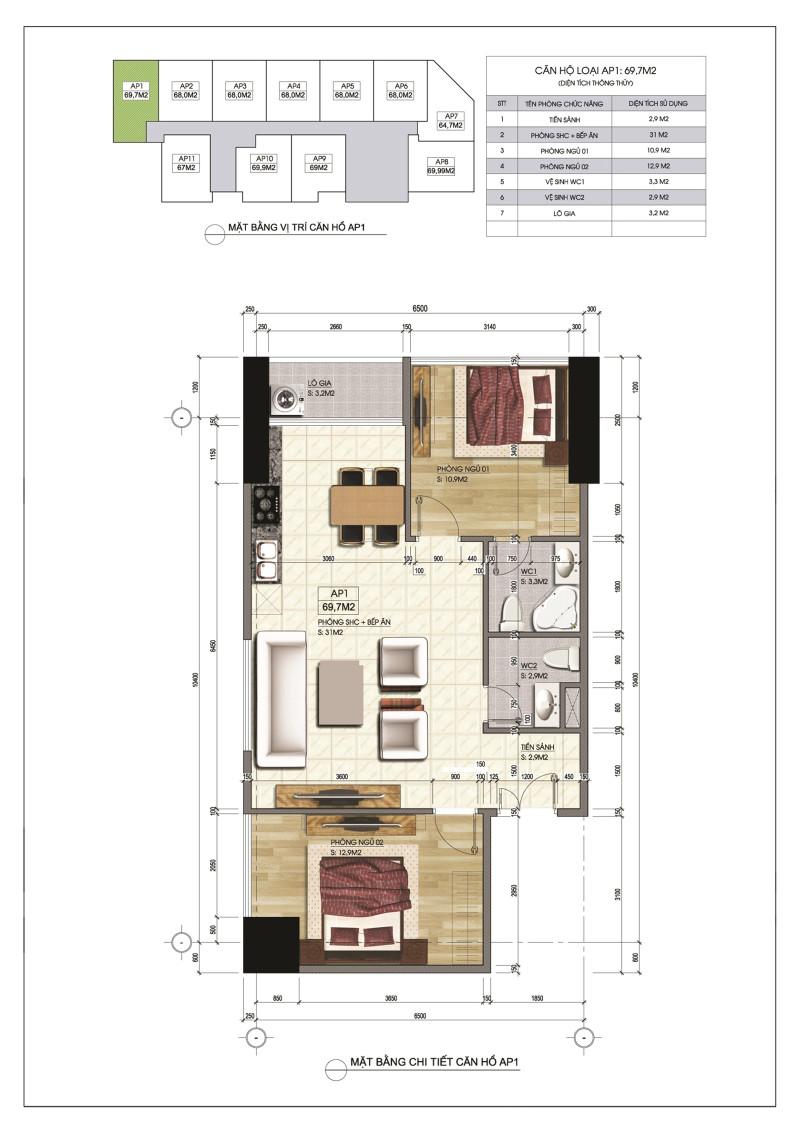 Thiết kế căn hộ AP1