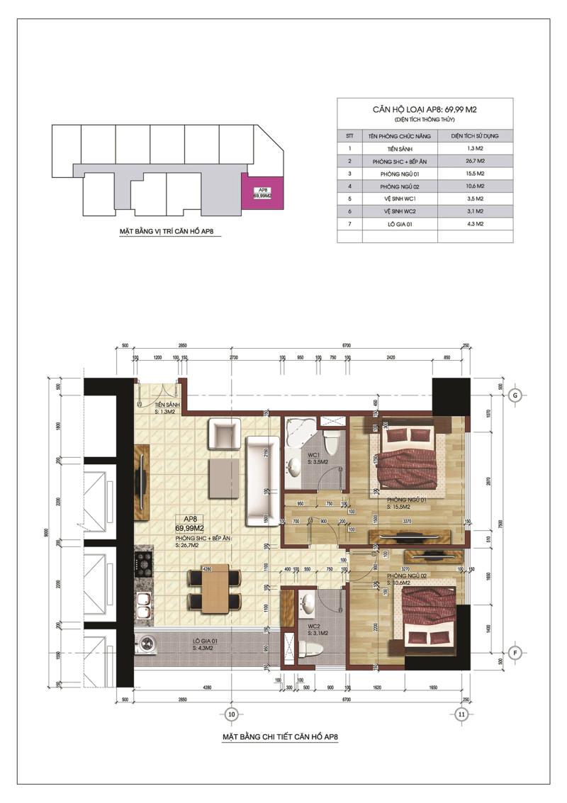 Thiết kế căn hộ AP8 Central Point Trung Kính