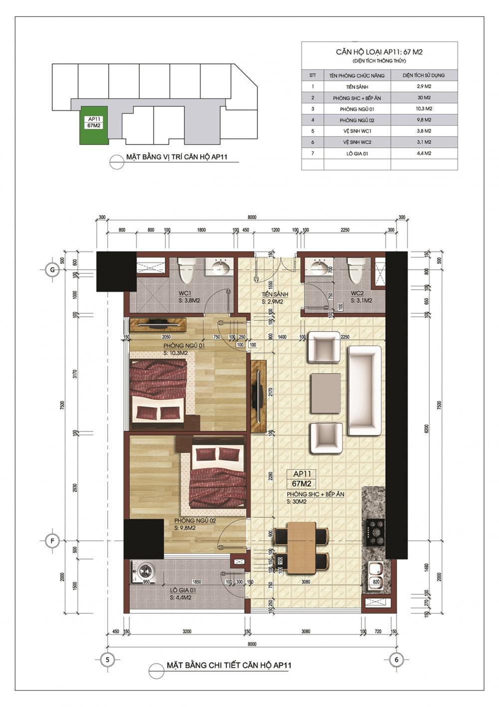 Thiết kế căn hộ AP11 Central Point Trung Kính