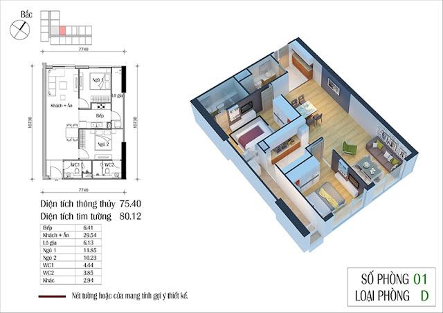 Thiết kế căn hộ 01-D chung cư Eco Spring