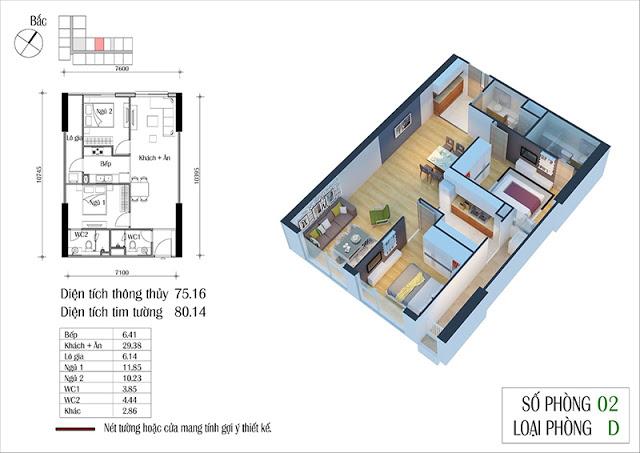 Thiết kế căn hộ 02-D chung cư Eco Spring