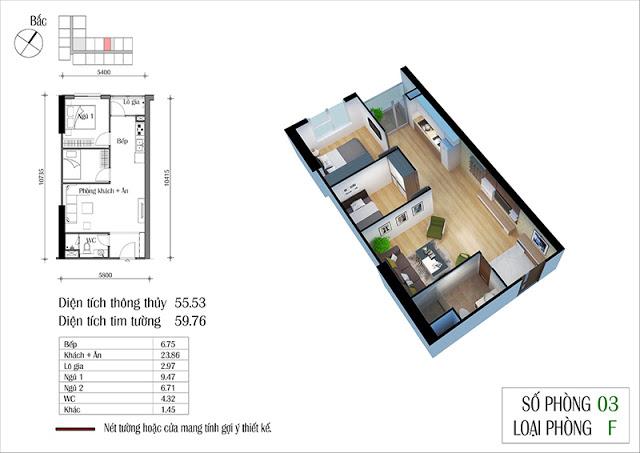 Thiết kế căn hộ 03-F chung cư Eco Spring