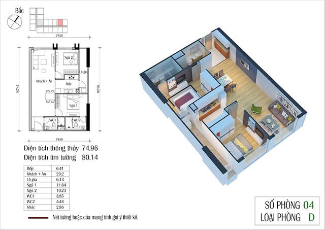 Thiết kế căn hộ 04-D chung cư Eco Spring