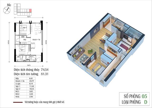Thiết kế căn hộ 05-D chung cư Eco Spring