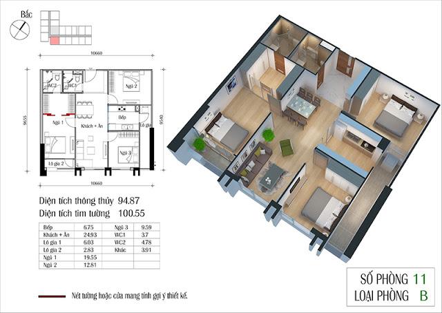 Thiết kế căn hộ 11-B