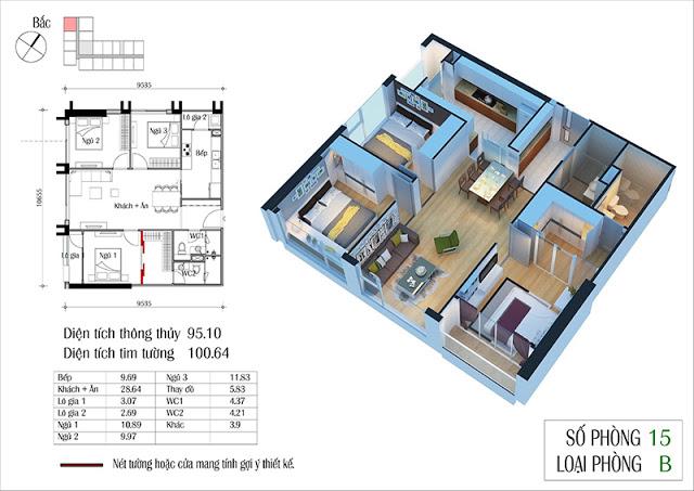 Thiết kế căn hộ 15-B