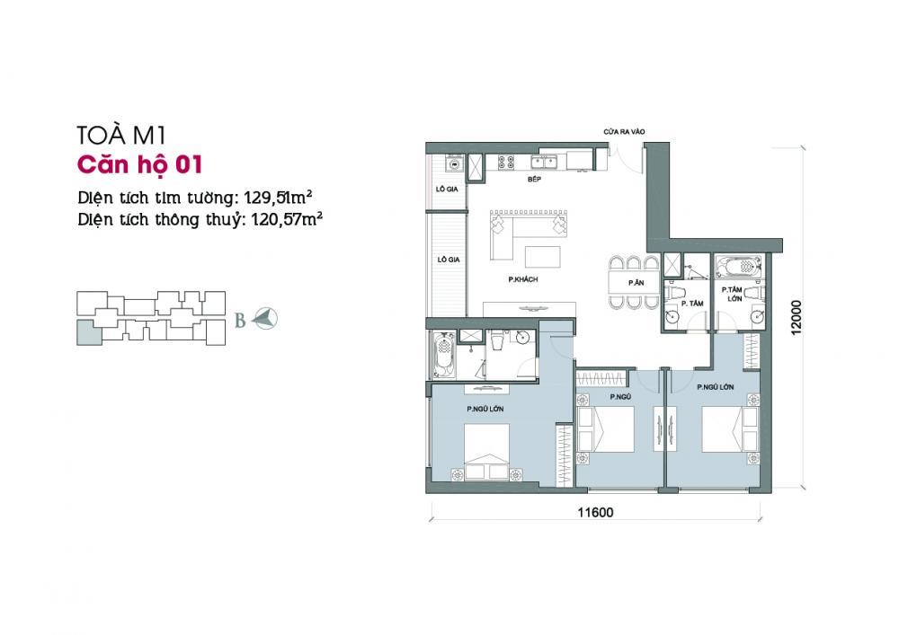 Thiết kế căn hộ 01 - Tòa M1 Vinhomes Metropolis