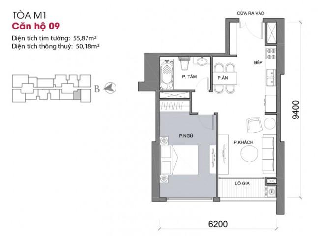 Thiết kế căn hộ 09 - Tòa M1 Vinhomes Metropolis