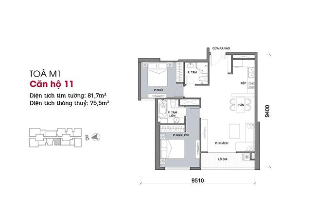 Thiết kế căn hộ 11 - Tòa M1 Vinhomes Metropolis