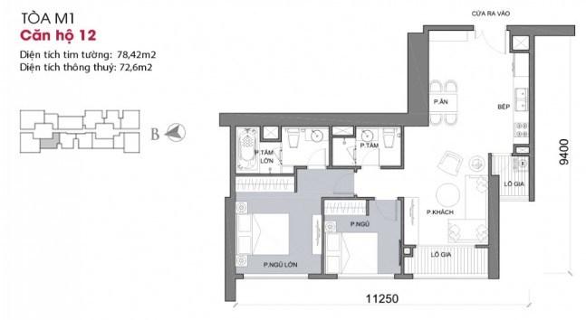 Thiết kế căn hộ 12 - Tòa M1