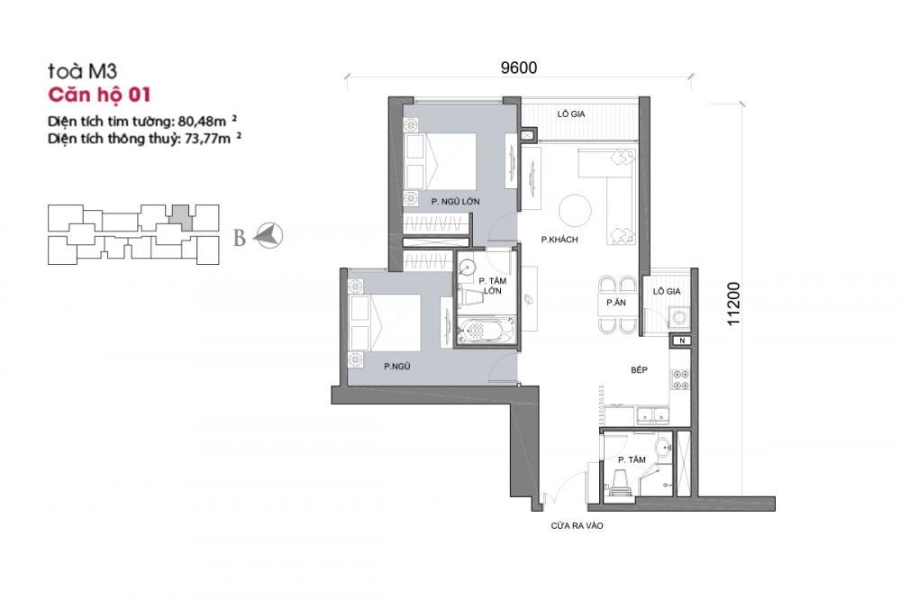 Thiết kế căn hộ 01 - Tòa M3
