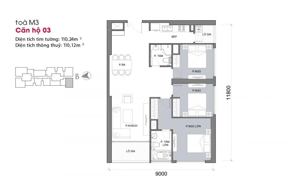 Thiết kế căn hộ 03 - Tòa M3