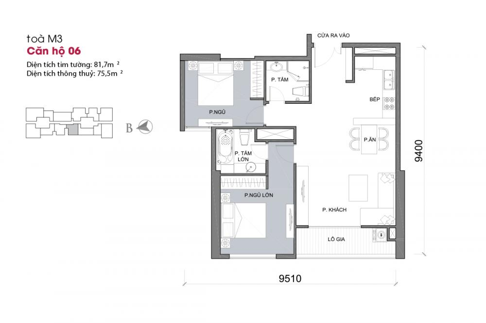 Thiết kế căn hộ 06 - Tòa M3