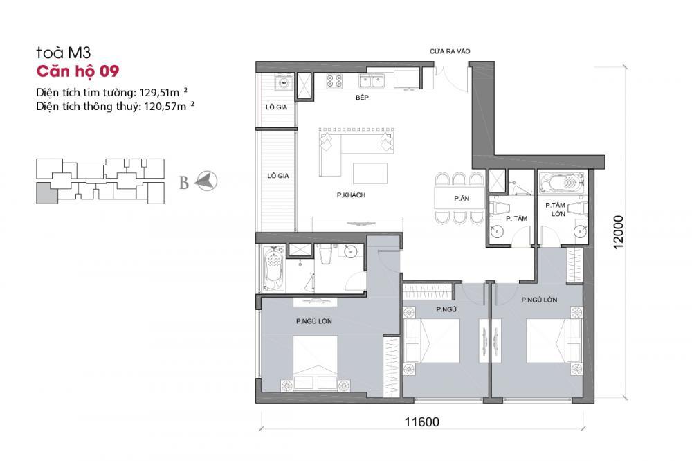 Thiết kế căn hộ 09 - Tòa M3