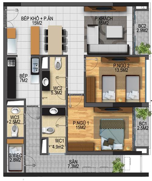 Thiết kế căn hộ 01-T3A