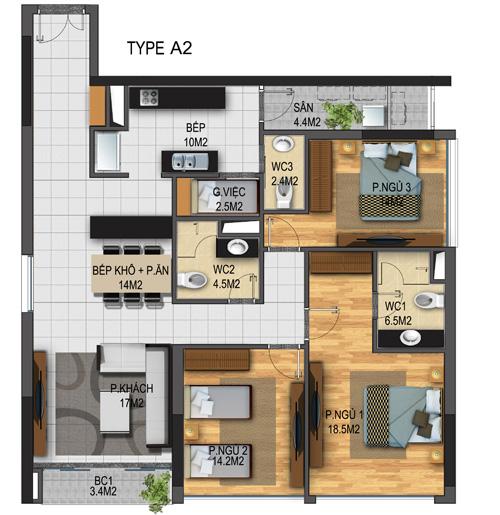 Thiết kế căn hộ 02-T3A