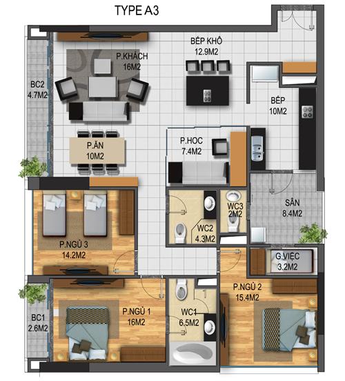 Thiết kế căn hộ 03-T3A