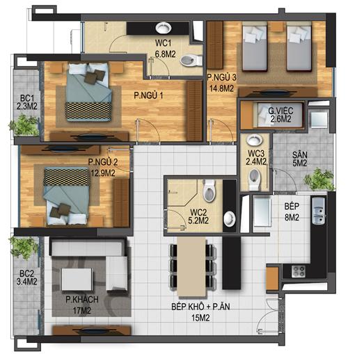 Thiết kế căn hộ 05-T3A
