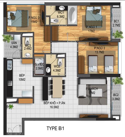 Thiết kế căn hộ 01-T3B