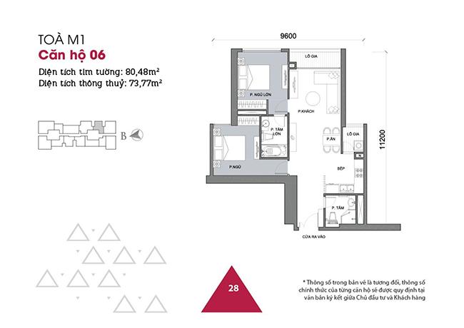 Thiết kế căn hộ 06 - Tòa M1 Vinhomes Metropolis
