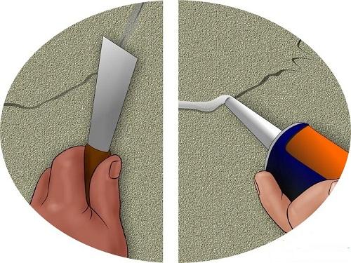 Với những vết nứt trên tường nhỏ, bạn có thể sử dụng keo để hàn gắn