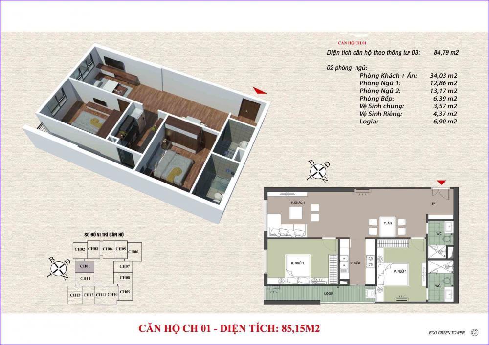 Thiết kế căn hộ CH 01 Viễn Đông Star