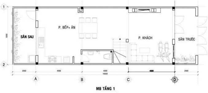 Thiết kế nhà ống 3 tầng 4x12m - 1