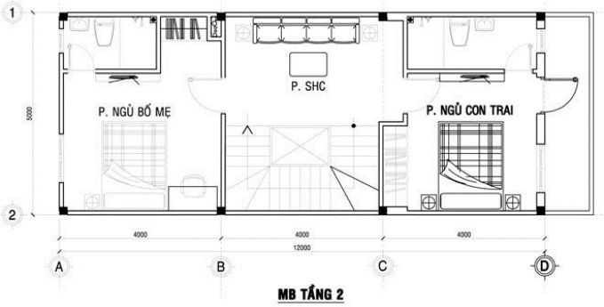 Thiết kế nhà ống 3 tầng 4x12m - 2