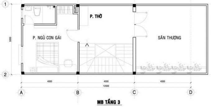 Thiết kế nhà ống 3 tầng 4x12m - 3