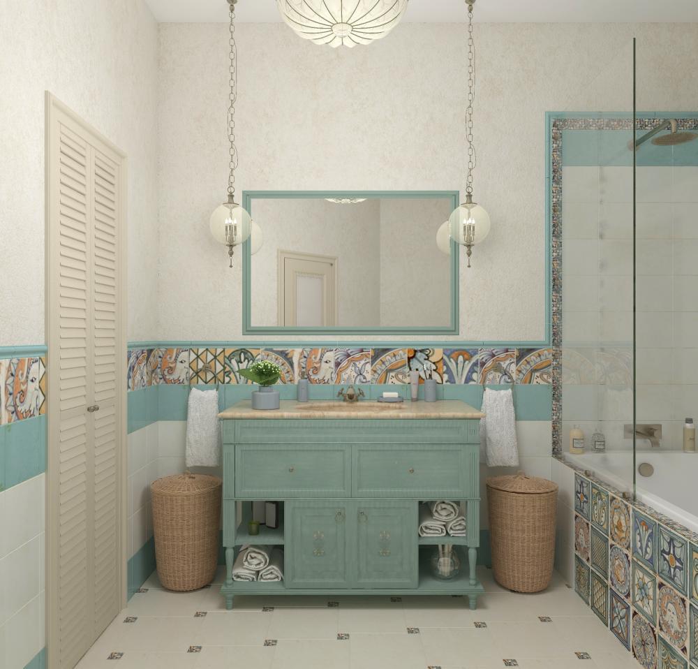 màu ấm áp trong phòng tắm