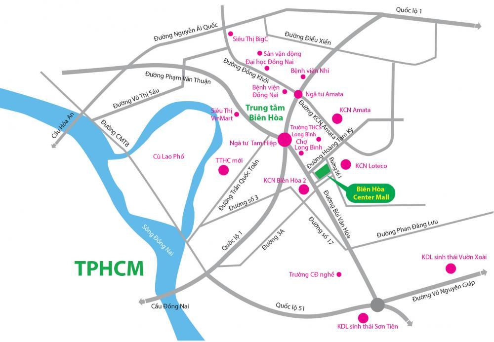 vị trí Biên Hòa Center Mall