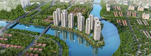 Phối cảnh dự án Gem Riverside có quy hoạch lấy ý tưởng từ những ốc đảo của Vịnh Hạ Long