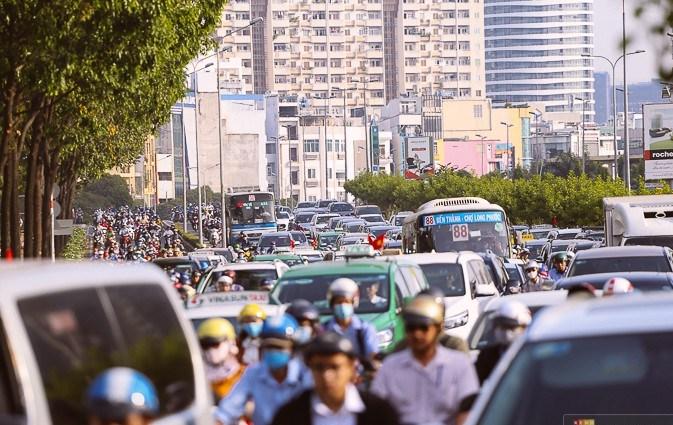 Kẹt xe tại trung tâm Sài Gòn