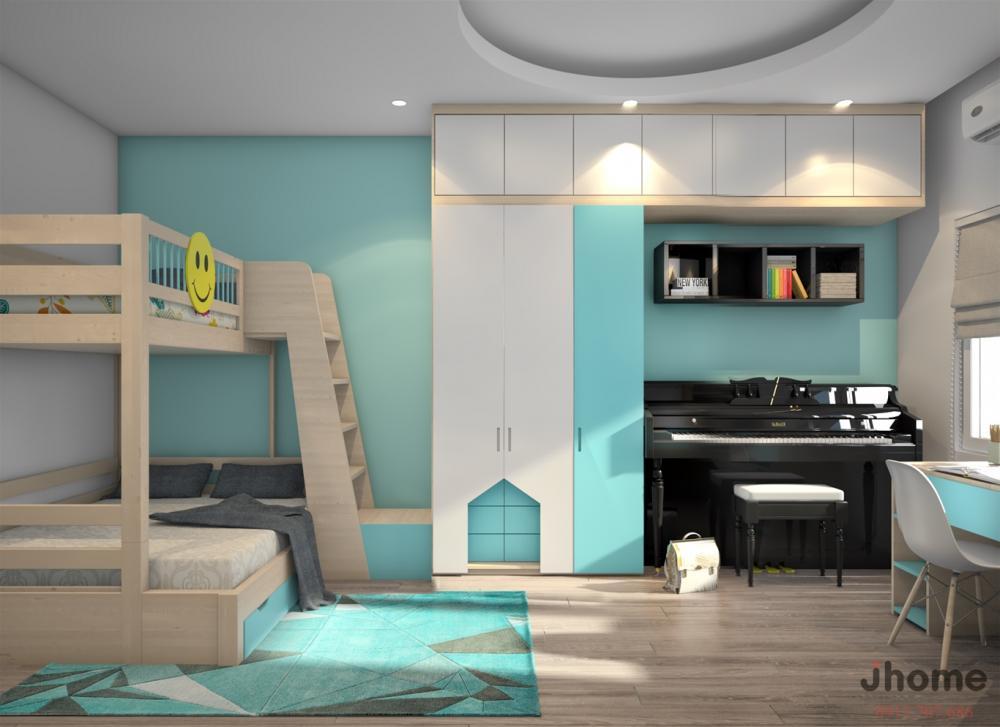 Phòng trẻ em màu xanh lam ngọc