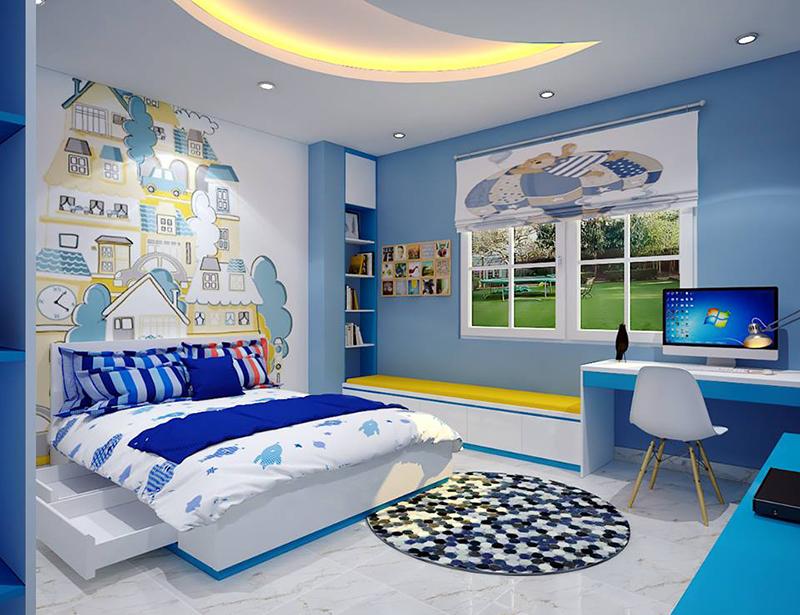 Phòng trẻ em màu xanh dương