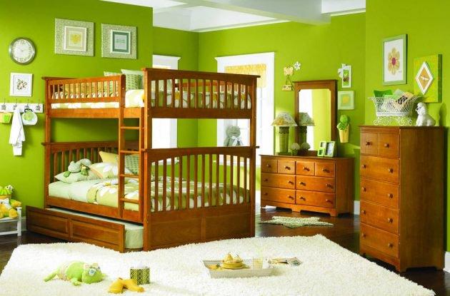 phòng trẻ em màu xanh lá