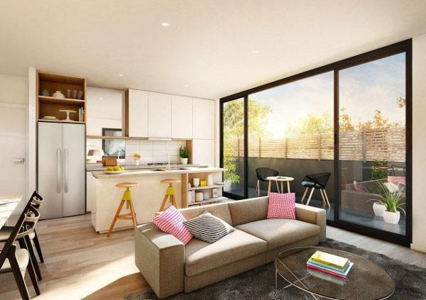 Bếp, phòng khách, phòng ăn được thiết kế mở trong cùng một không gian khiến căn nhà phòng trở nên thông thoáng và tràn ngập ánh sáng tự nhiên