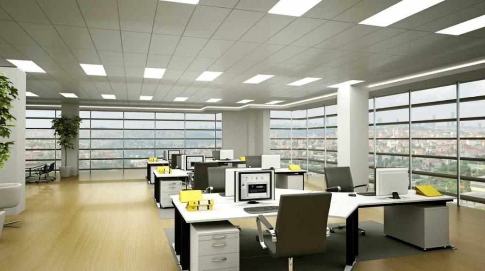 Văn phòng cần đảm bảo yếu tố ánh sáng phù hợp, không gây chói mắt cho người làm việc