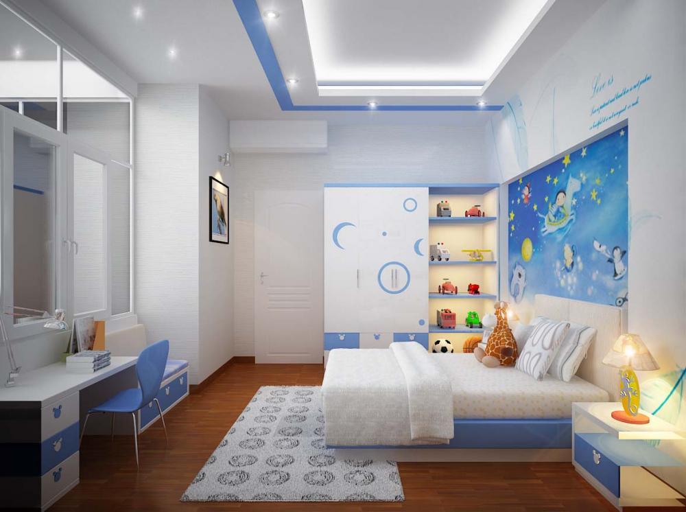 Phòng ngủ màu trắng, xanh da trời hay vàng đều tốt cho trẻ mệnh Kim