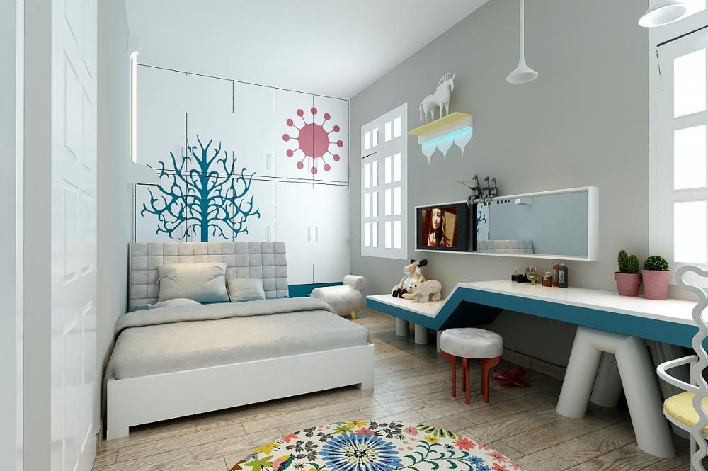 Phòng ngủ màu trắng tốt cho trẻ mệnh Thủy