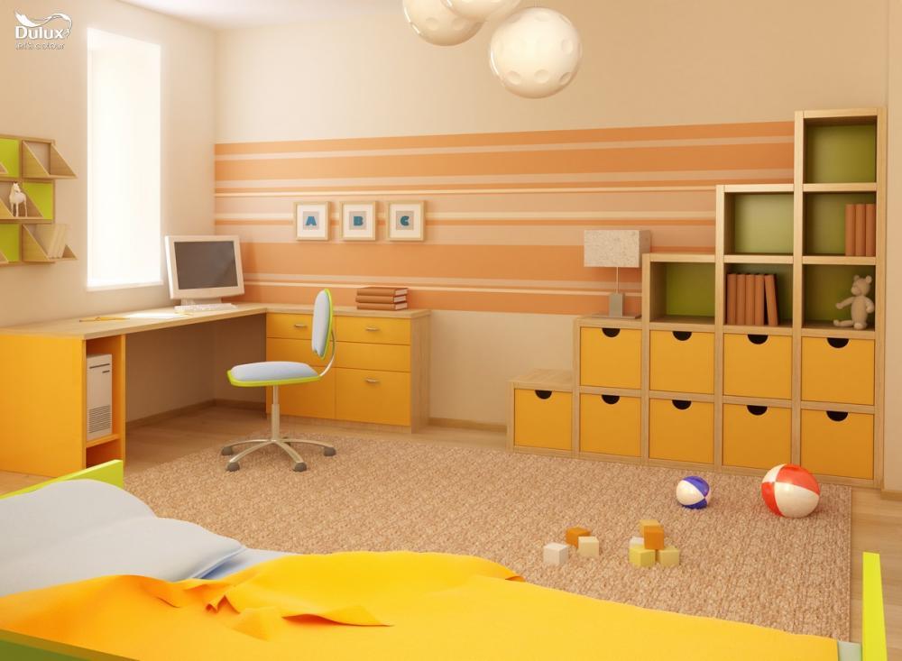 Trẻ mệnh Hỏa hợp với phòng được sơn màu nóng như đỏ hoặc cam