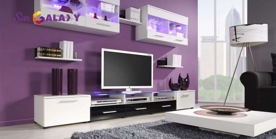 Phòng khách màu tím thể hiện sự giàu có, thịnh vượng