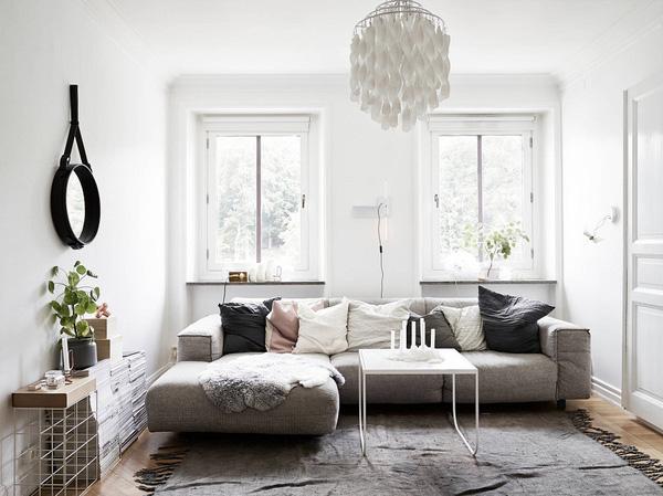 Phòng khách theo phong cách Scandinavian chủ đạo là sắc trắng