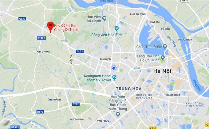 vị trí khu đô thị kim chung di trạch
