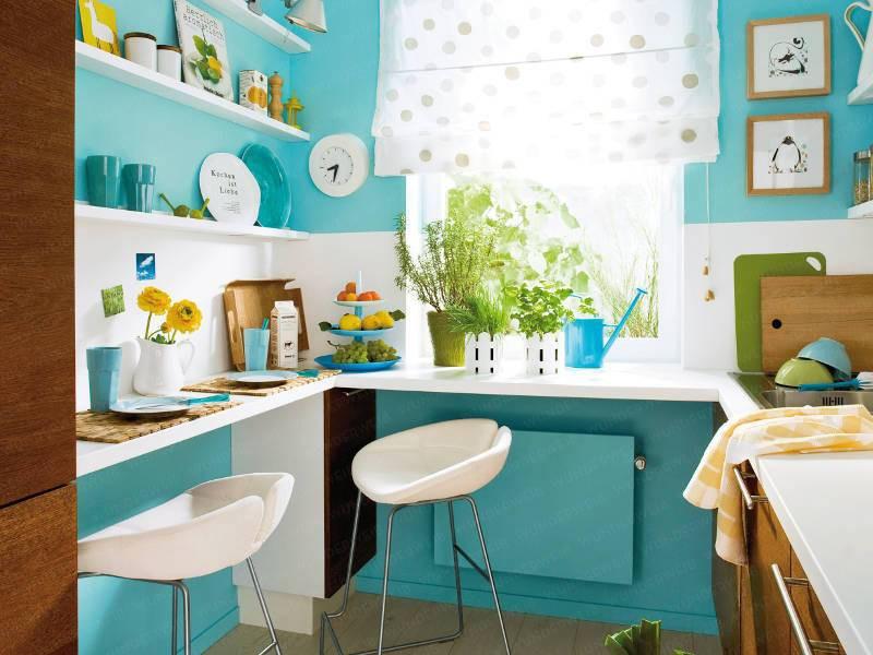 phòng bếp màu xanh