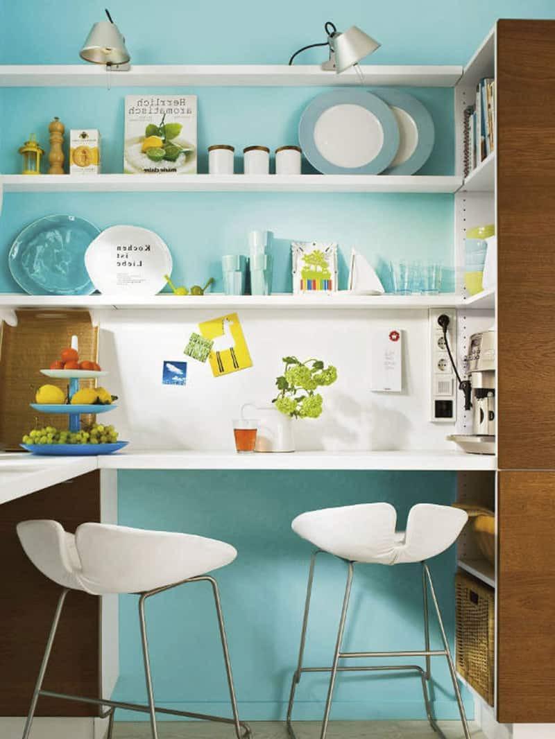 phòng bếp màu xanh ngọc